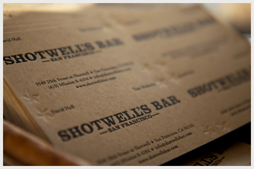 Shotwell's Bar Business Card